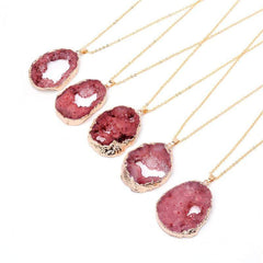 Wow Jewelry Shop Natural Stone Striped Crystal Pendant Necklace