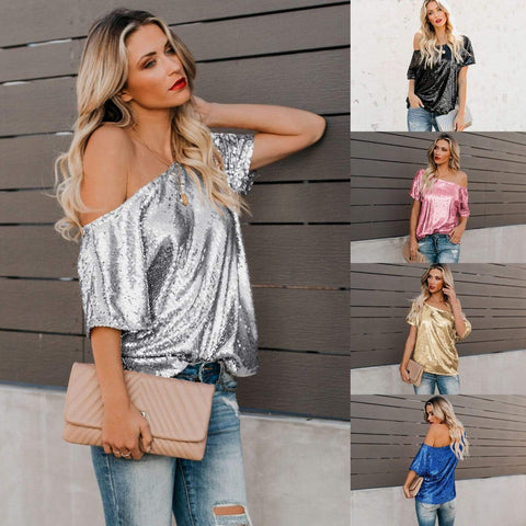 Wow Jewelry Shop Fashion Loose Strapless Shining Blouse