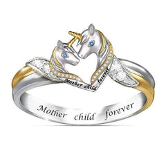 """Wow Jewelry Shop """"Mother Child Forever"""" Heart Unicorn Ring"""