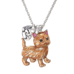 "Wow Jewelry Sh ""I Love My Kitty""  Cartoon Silver Cute Animal Cat Necklace For Women op"