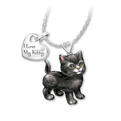 "Wow Jewelry Shop  ""I Love My Kitty""  Cartoon Silver Cute Animal Cat Necklace For Women"