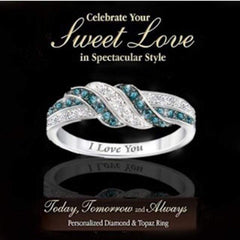 "Wow Jewelry Shop ""I love you"" Ring  Fashion Green Clear Cubic Zirconia Rings for Women"