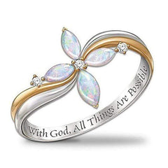 "wow jewelry shop ""With God All Things Are Possible"" Fashion Plant Flower Rings for Women 2020"