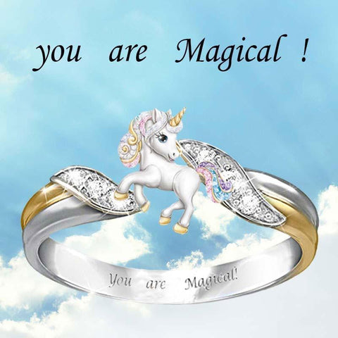 "Wow Jewelry Shop You are Magical "" Fashion Rainbow Unicorn Ring Earrings Necklace Sets Silver Color Engagement Animal Rings for Women girls Trendy Cartoon Kids Jewelry"