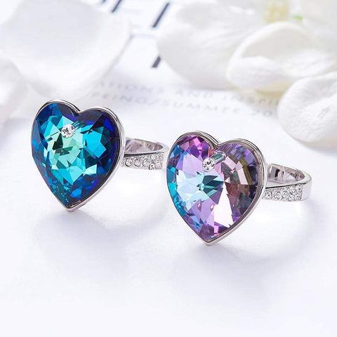 Wow Jewelry shop Swarovski Heart crystals Silver Rings