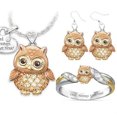 "Wow Jewelry Shop ""Owl Always Love You"" Necklace/Earrings/Rings Sets"
