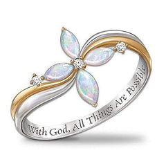 "Wow Jewelry Shop ""With God All Things Are Possible""  Flower Rings"