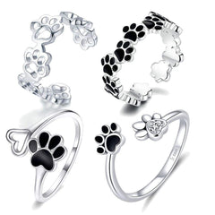Wow Jewelry Shop 925 Sterling Silver Pet Dog Footprints Rings