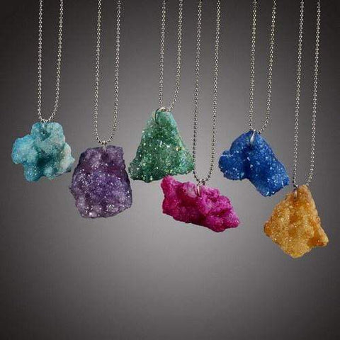 Wow Jewelry Shop Colorful Irregular Natural Stone Pendant Necklace