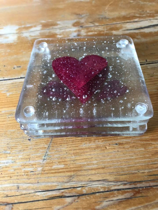 Set of Four Handmade Fused Glass & Copper Hearts Coasters