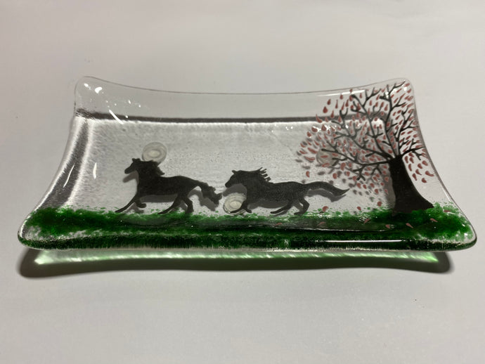 Running horses soap dish / trinket tray
