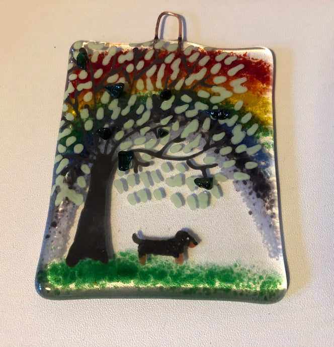 Dachshund Rainbow Countryside Wall Hanger