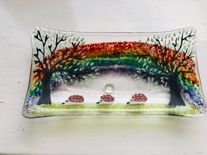 Hedgehog Rainbow soap dish / trinket tray