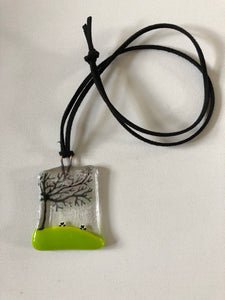 Spring sheep Fused Glass Necklace on cord