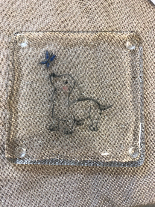 Set of Four Handmade Fused Glass Dog Coasters