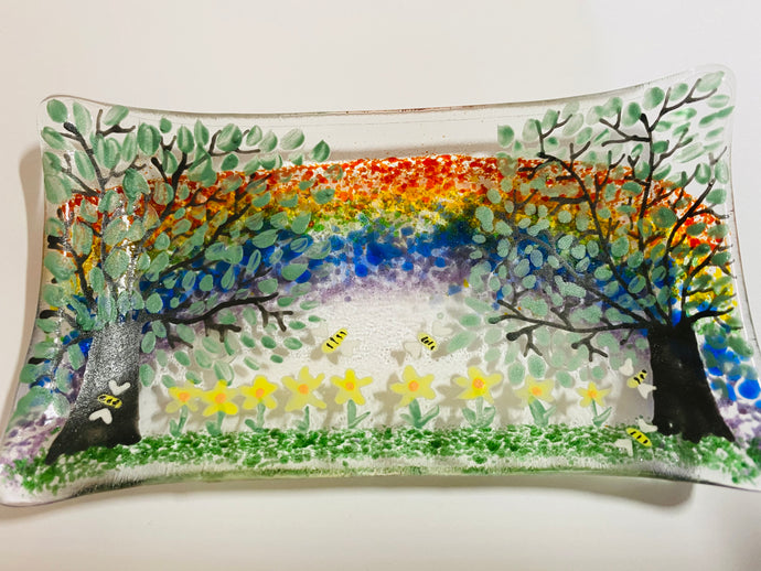 Spring flowers Rainbow soap dish / trinket tray