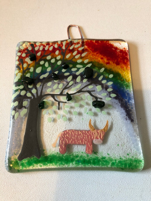 Highland Cow Rainbow Countryside Wall Hanger