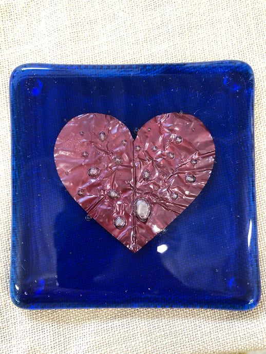 Set of two Handmade Fused Glass & Copper Hearts Coasters