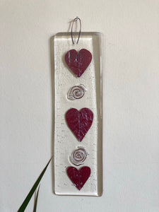 XL Fused Glass Heart Hanger