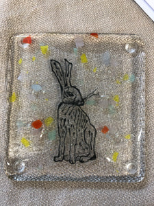 Set of two Handmade Fused Glass Hare Coasters