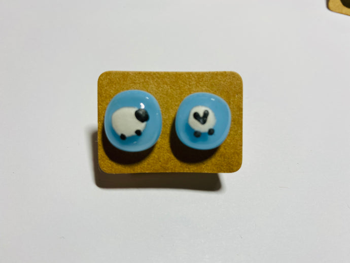 Pale blue different facing sheep Glass Earrings