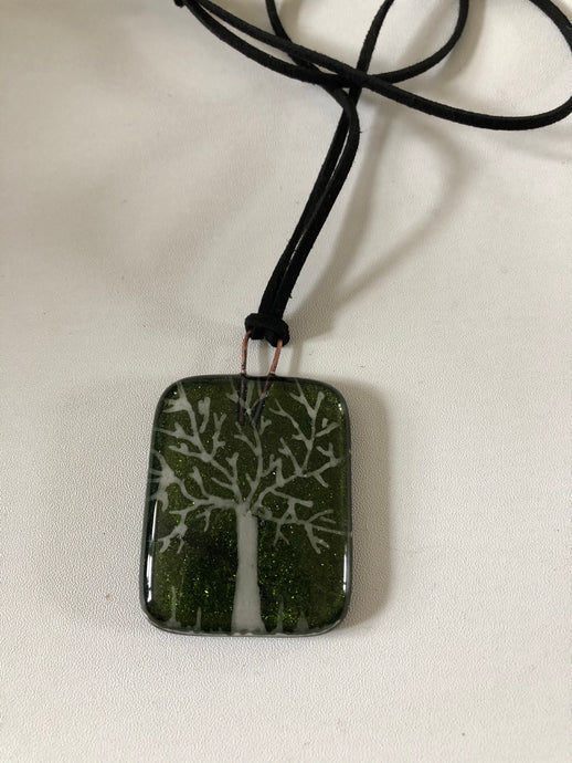Sparkling Green Tree Fused Glass Necklace on cord