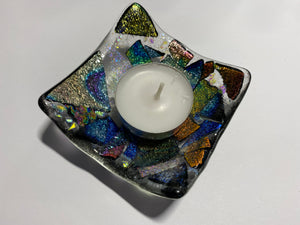 Deep dish dichroic TeaLight candle holder