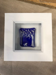 Fused Glass Hare & Tree in Box Frame