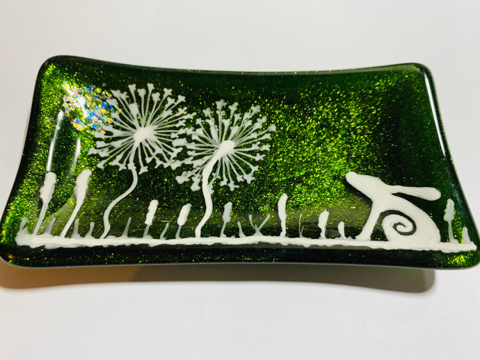 Sparkling Green Moon Hare soap dish / trinket tray