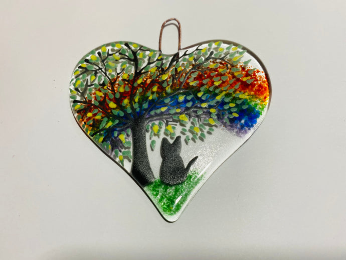Rainbow Fused Glass Cat Heart