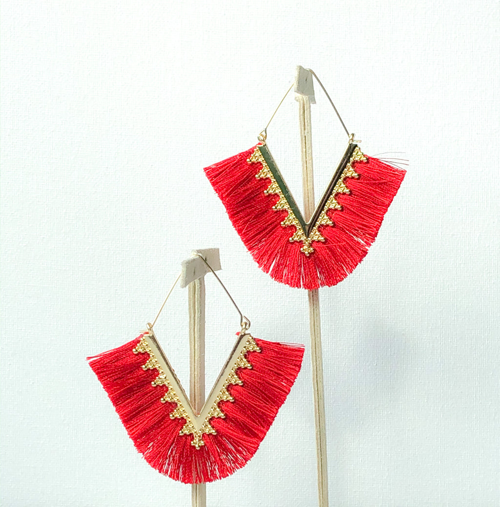 Pankhi Earrings - Red