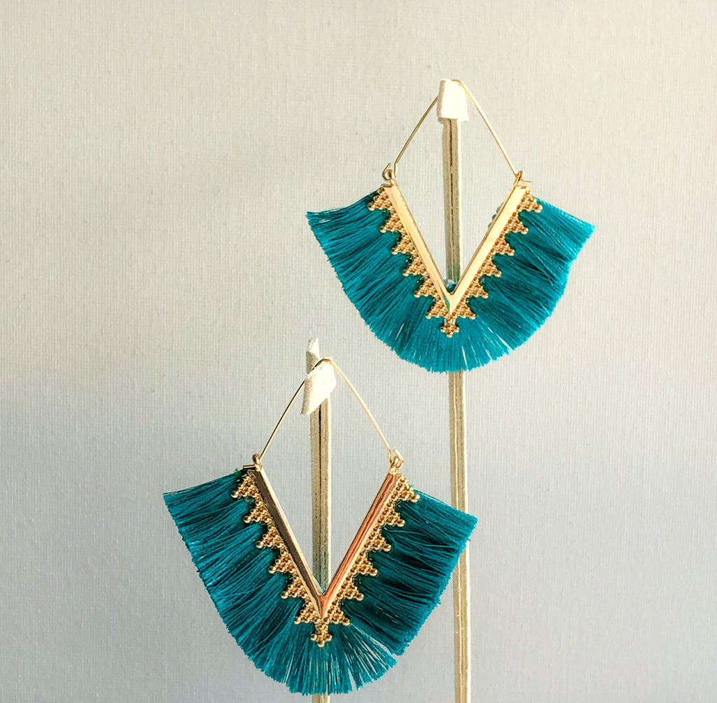 Pankhi Earrings - Teal