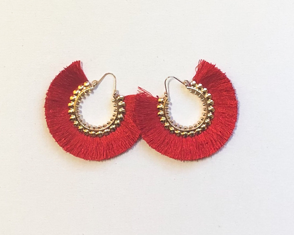Dhara Earrings (Design 1) - Red