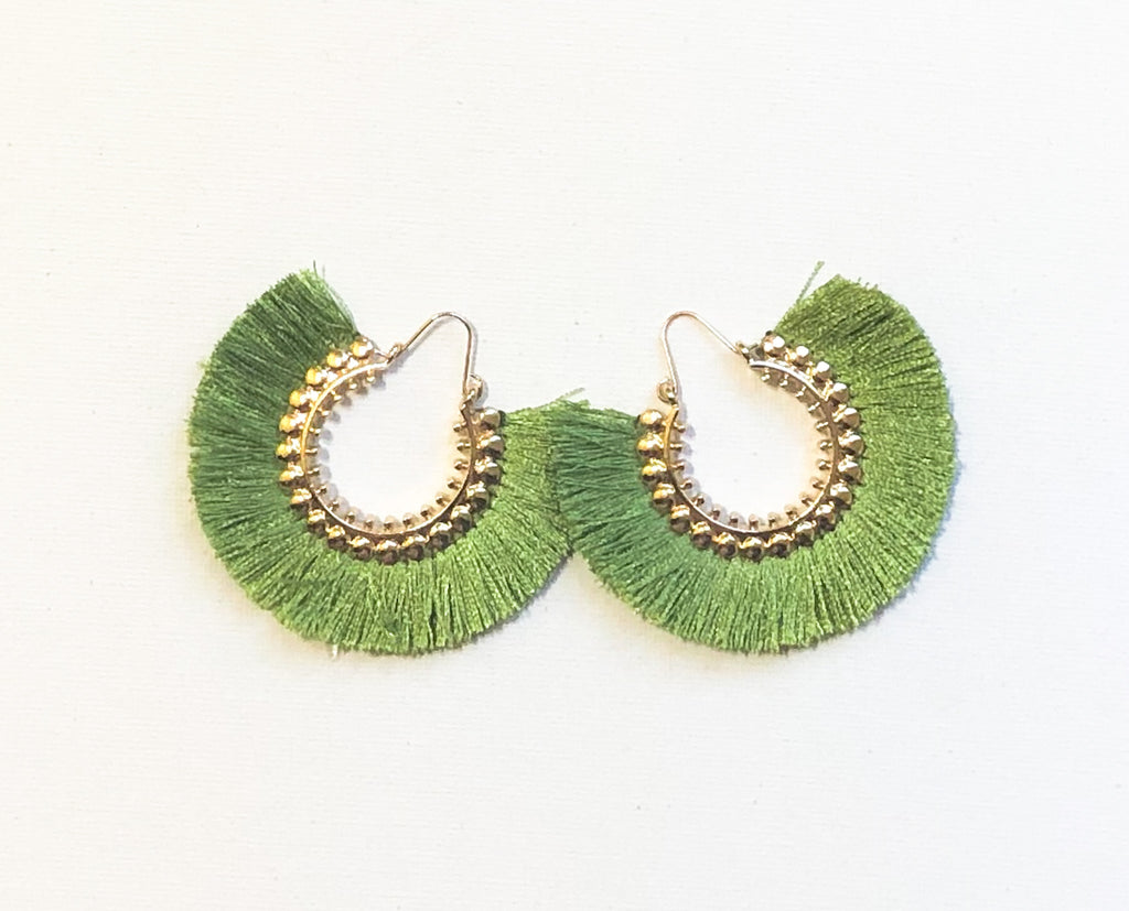 Dhara Earrings (Design 1) - Lime Green