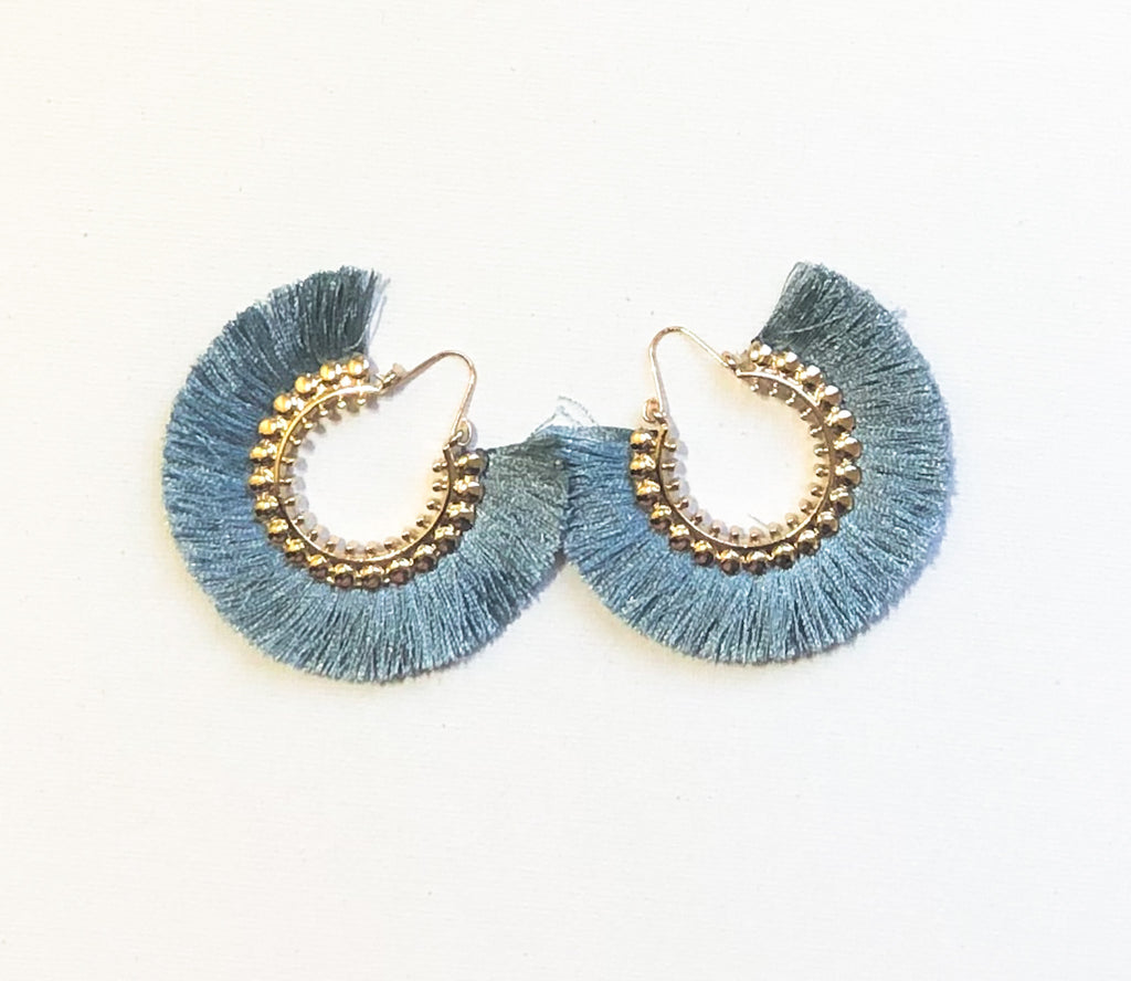 Dhara Earrings (Design 1) - Steel Blue