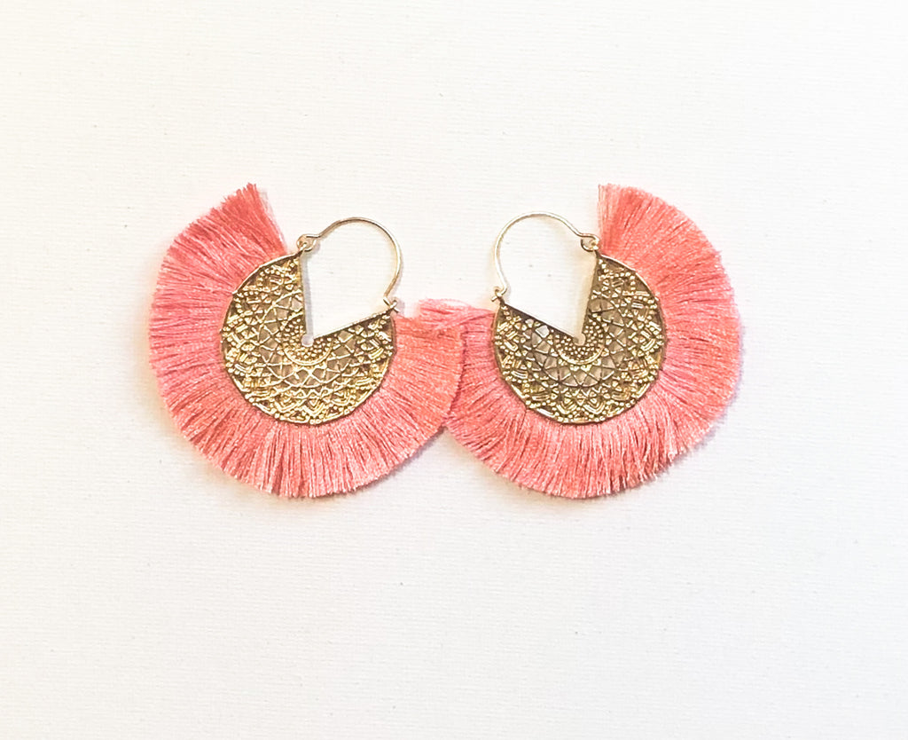 Dhara Earrings (Design 2) - Pinkish Peach