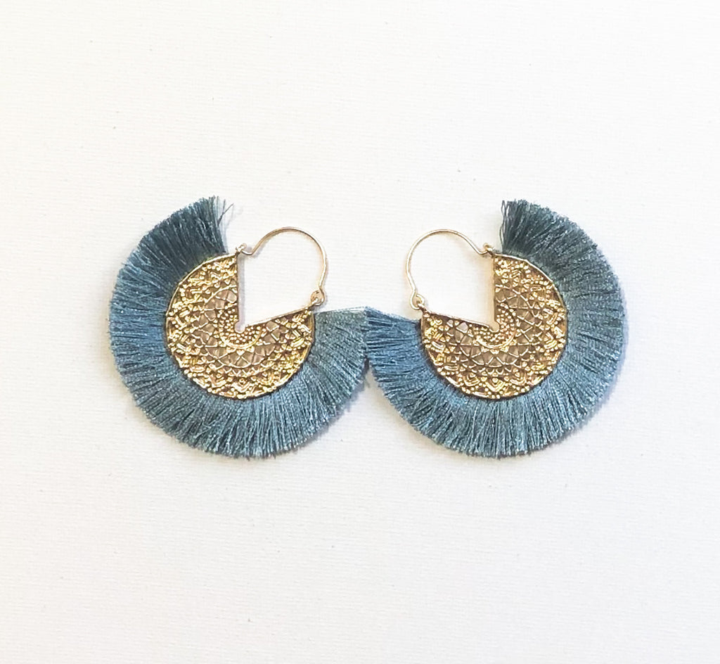 Dhara Earrings (Design 2) - Steel Blue