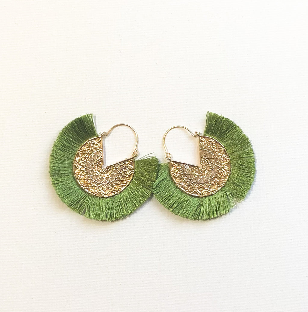 Dhara Earrings (Design 2) - Lime Green
