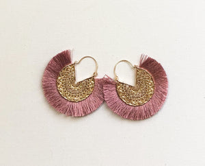 Dhara Earrings (Design 2) - Fuschia Pink