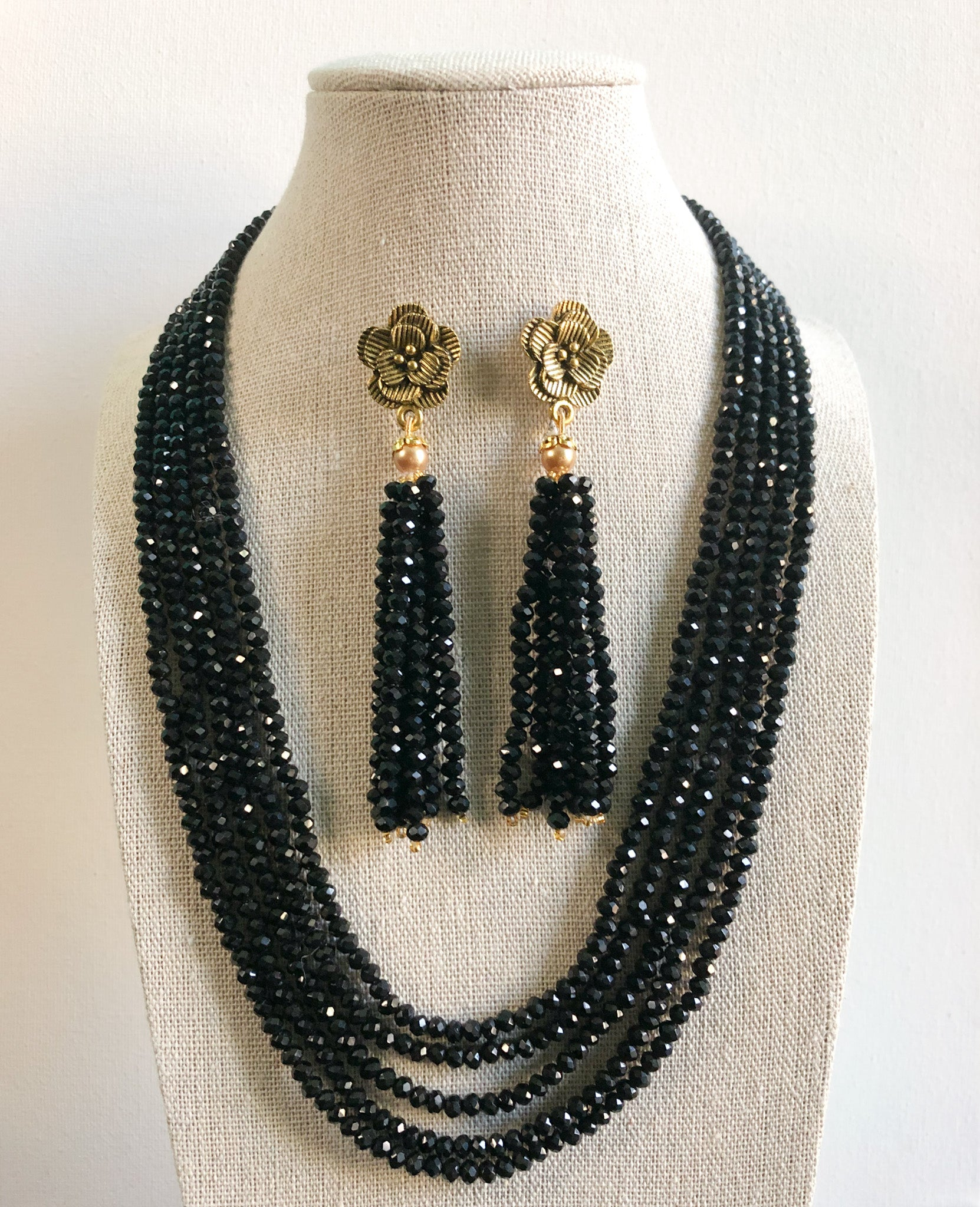 Tejal Necklace Set - Black