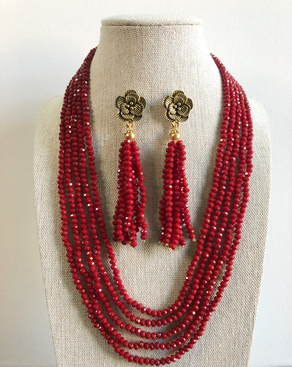 Tejal Necklace Set - Maroon