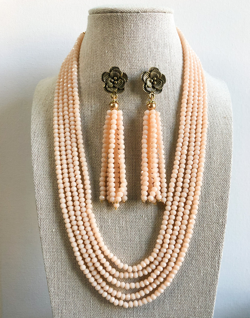 Tejal Necklace Set - Light Peach