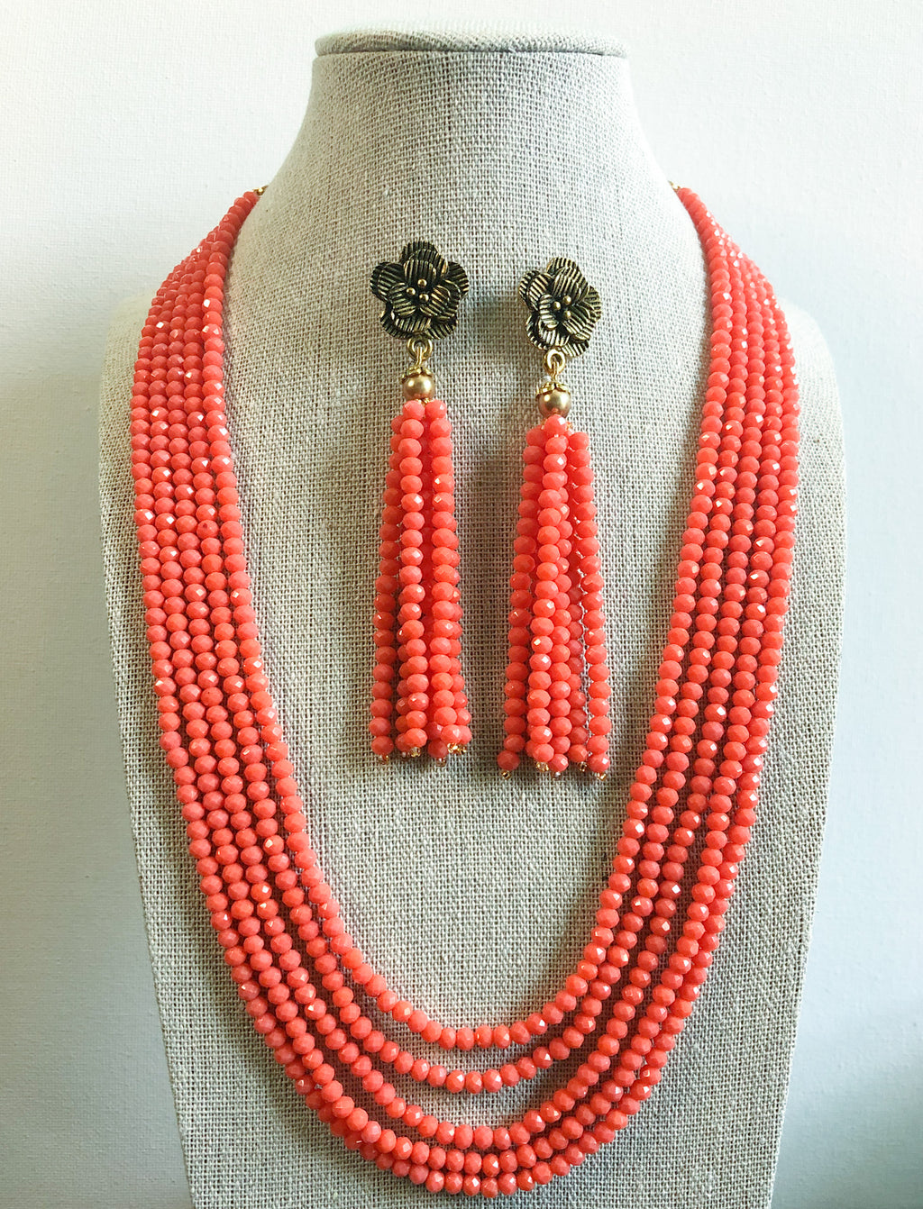 Tejal Necklace Set - Coral