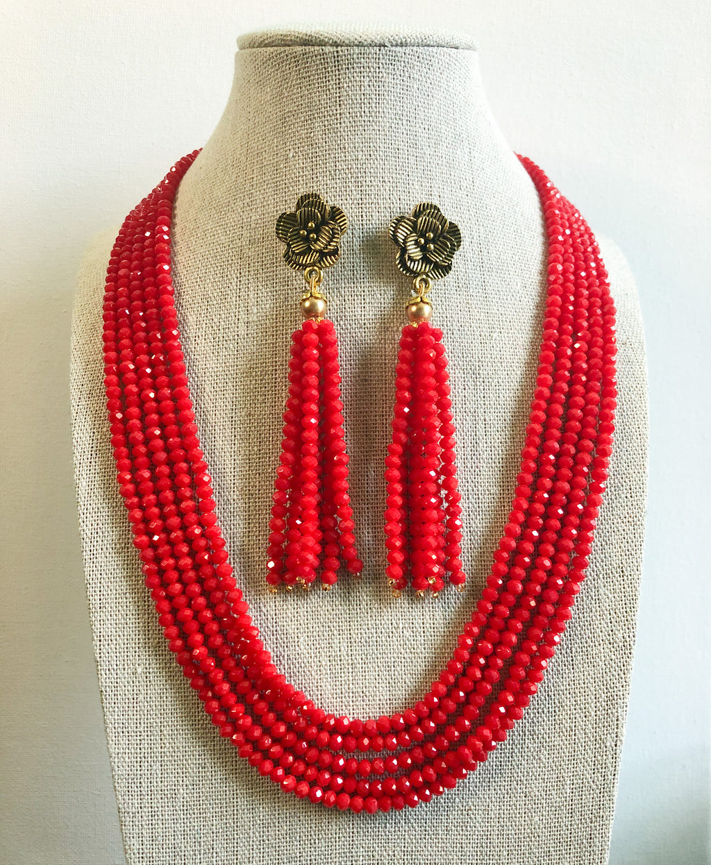 Tejal Necklace Set - Red