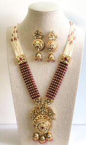 Rashmi Necklace Set - Design 2 (Maroon)