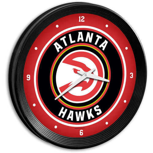 Atlanta Hawks: Ribbed Frame Wall Clock - The Fan-Brand