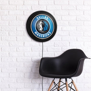 Dallas Mavericks: Round Slimline Lighted Wall Sign - The Fan-Brand