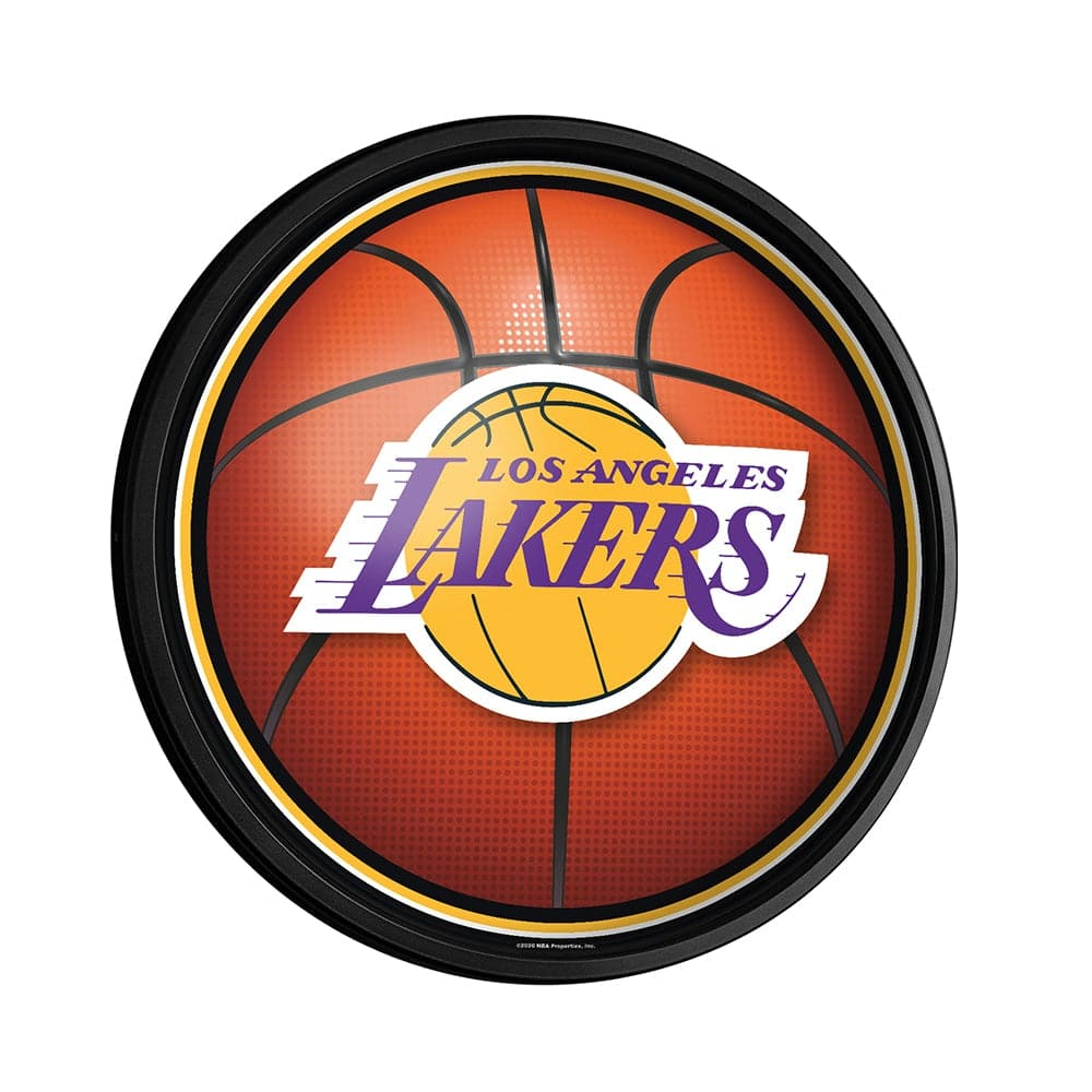 Los Angeles Lakers: Basketball - Round Slimline Lighted Wall Sign - The Fan-Brand