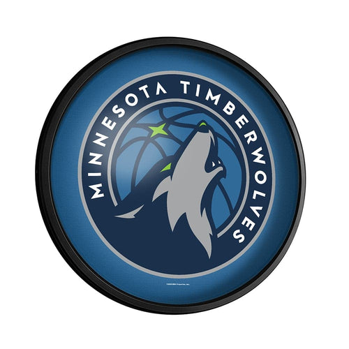 Minnesota Timberwolves: Round Slimline Lighted Wall Sign - The Fan-Brand