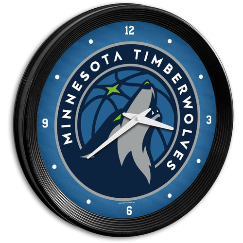 Minnesota Timberwolves: Ribbed Frame Wall Clock - The Fan-Brand